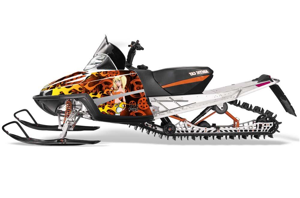 Arctic Cat M Series / Crossfire Sled Graphic Kit - All Years Motorhead Mandy Orange