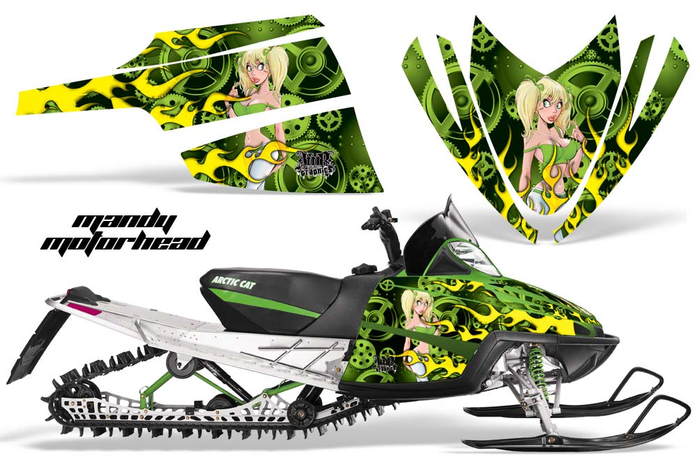Arctic Cat M Series / Crossfire Sled Graphic Kit - All Years Motorhead Mandy Green