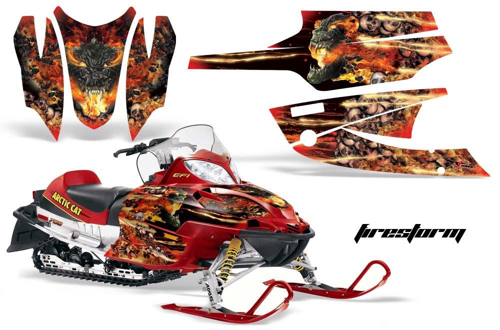 Arctic Cat Firecat F5 / F6 / F7 Sled Graphic Kit - 2003-2006 Firestorm Red