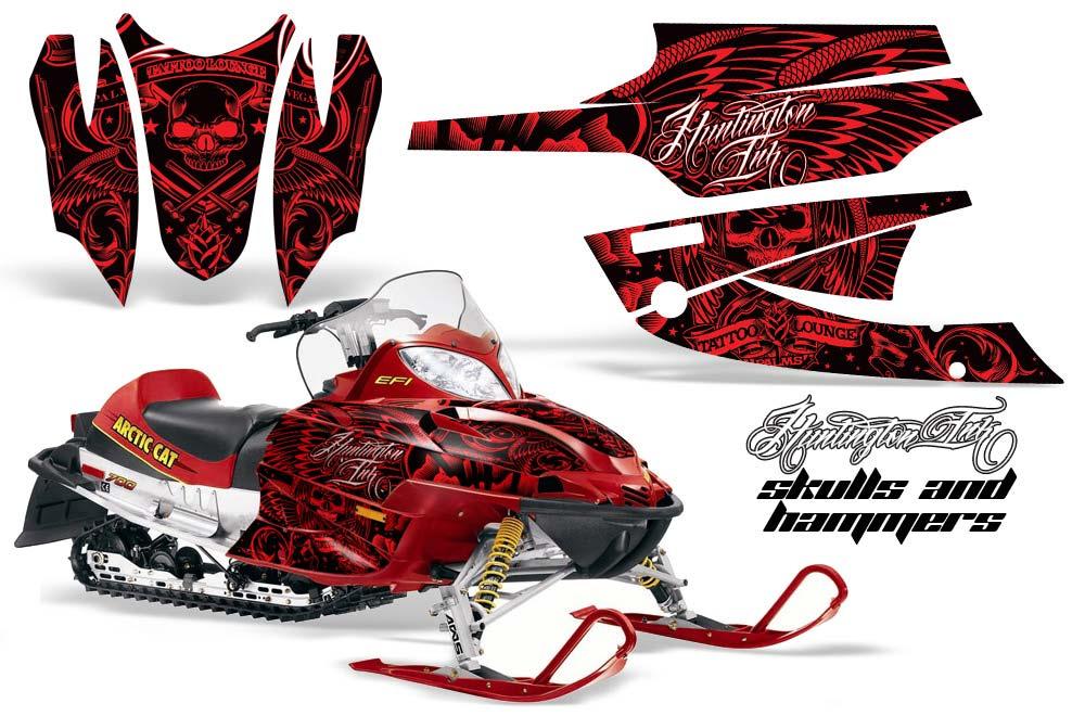 Arctic Cat Firecat F5 / F6 / F7 Sled Graphic Kit - 2003-2006 Skulls N Hammers Red