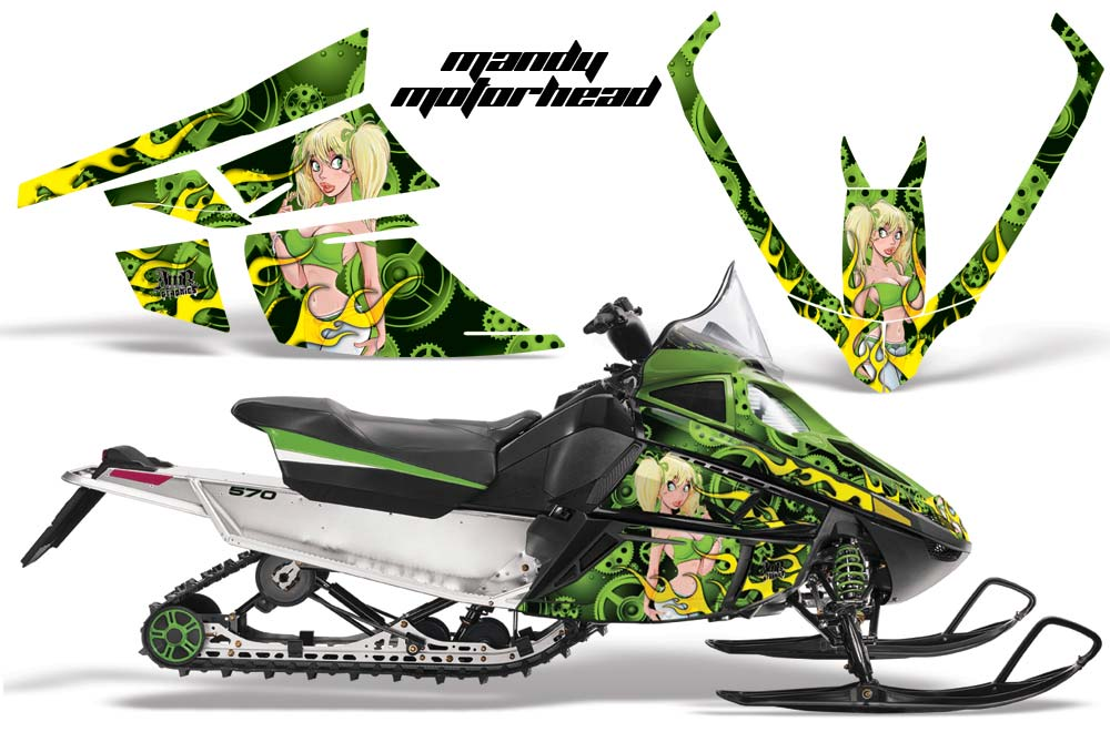 Arctic Cat F Z1 Series Sled Graphic Kit - All Years Motorhead Mandy Green