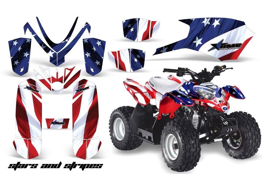 Polaris Predator 50 ATV Graphic Kit - All Years Stars N Stripes Red