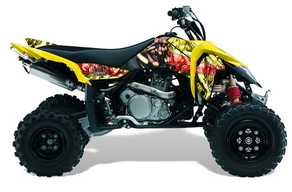 019977d60b5 Suzuki LTR 450 ATV Graphics: Mad Hatter - Yellow Red Quad Graphic Decal  Wrap Kit