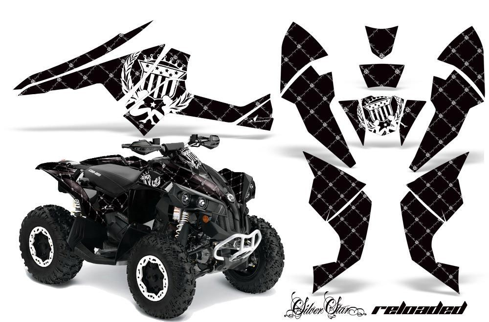 Can Am Renegade 500x/r / 800x/r ATV Graphic Kit - All Years Silver Star - Reloaded Black