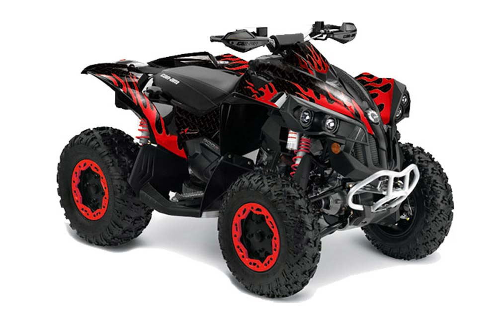Can Am Renegade 500/800/1000 ATV Graphics: Diamond Flames - Red ...