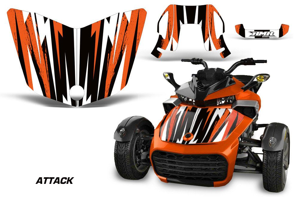 Can Am F3-S Spyder Hood Graphic Kit - All Years Attack Orange