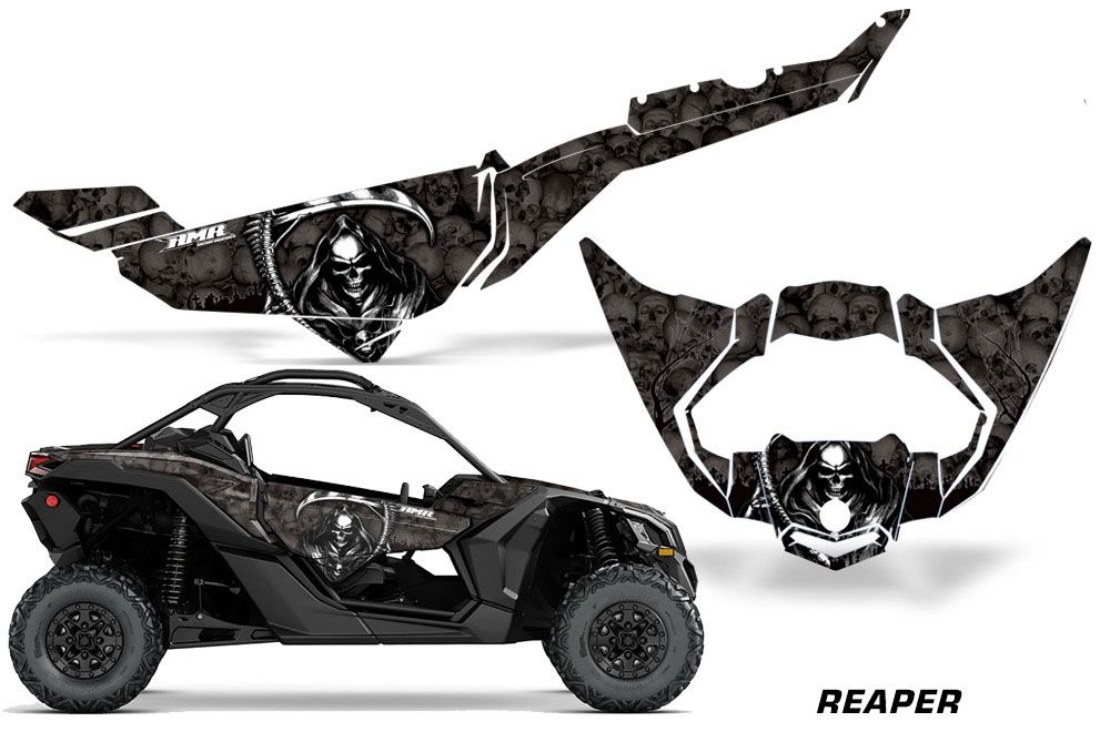 can am maverick x3 x ds x rs trim graphics reaper black side by side graphic decal wrap kit. Black Bedroom Furniture Sets. Home Design Ideas