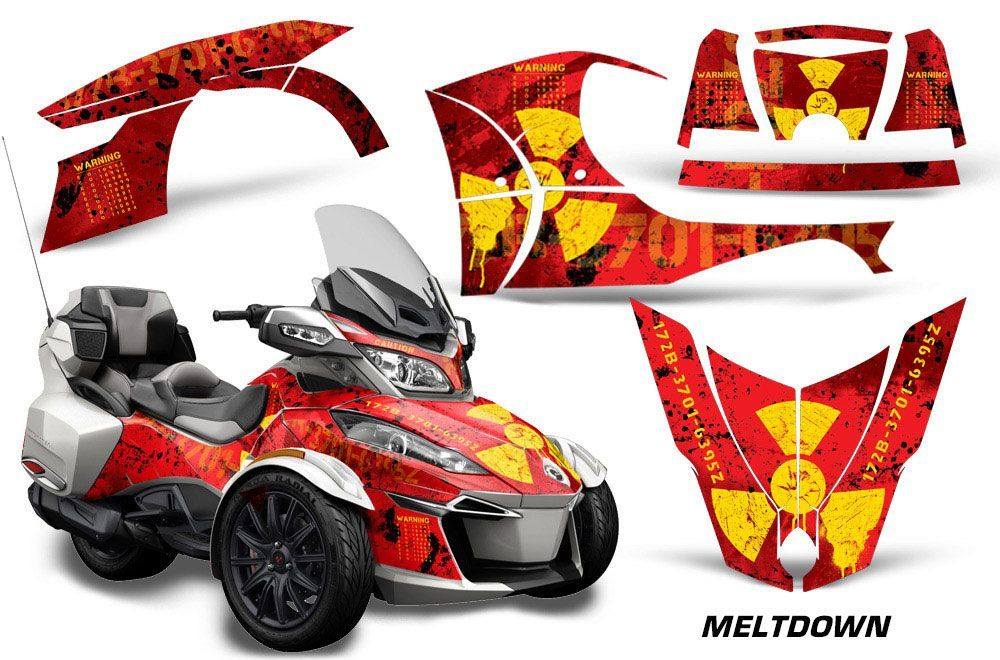 Can Am BRP (RTS) Spyder Graphic Kit - 2014-2016 Meltdown Yellow
