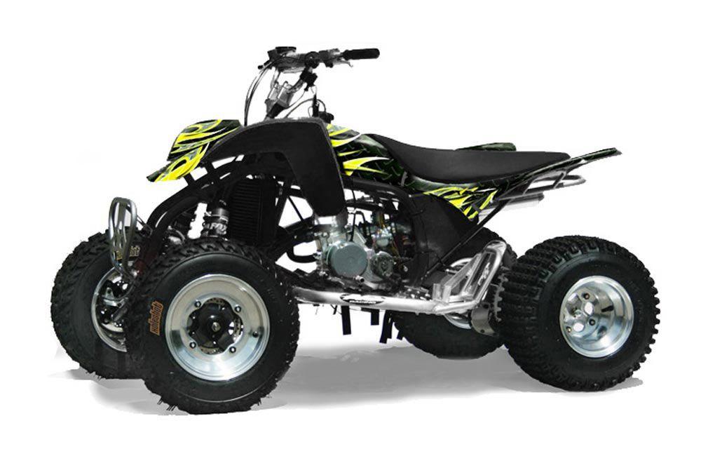 Cobra ECX 50 / 70 / 80 ATV Graphic Kit - All Years Tribal Flames Yellow