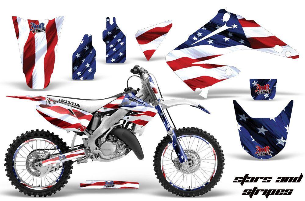Honda CR250 Dirt Bike Graphic Kit - 1995-2015 Stars and Stripes Red White & Blue
