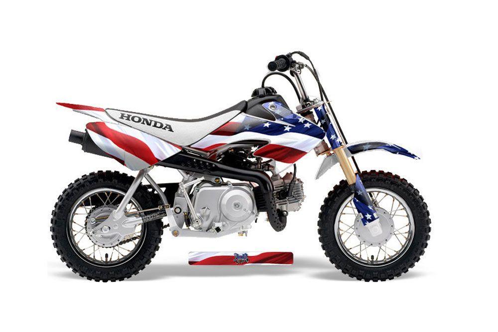 Honda CRF50 Dirt Bike Graphic Kit - 2004-2013 Stars and Stripes Red White & Blue