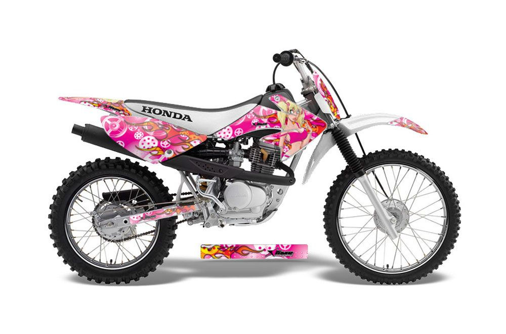 Honda CRF100 Dirt Bike Graphic Kit - 2004-2010 Motorhead Mandy Pink