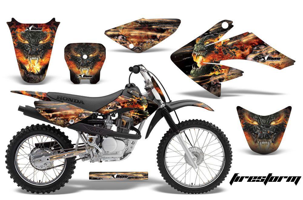 Honda CRF80 Dirt Bike Graphic Kit - 2004-2010 Firestorm Black