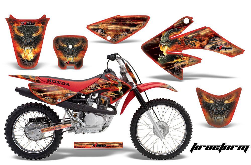 Honda CRF80 Dirt Bike Graphic Kit - 2004-2010 Firestorm Red