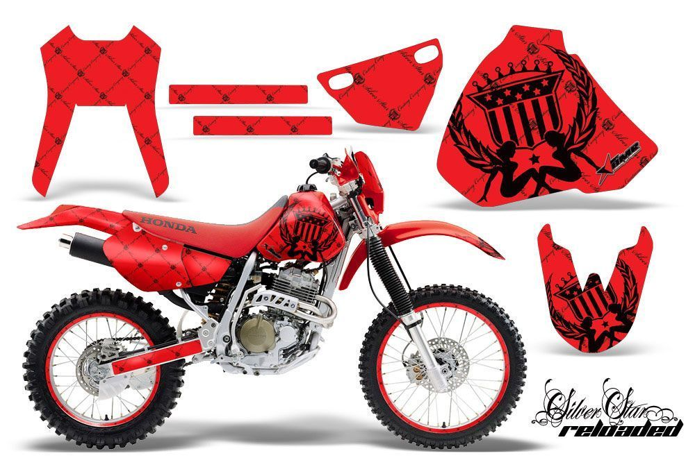 Honda XR400 Dirt Bike Graphic Kit - 1996-2004 Silver Star - Reloaded Red