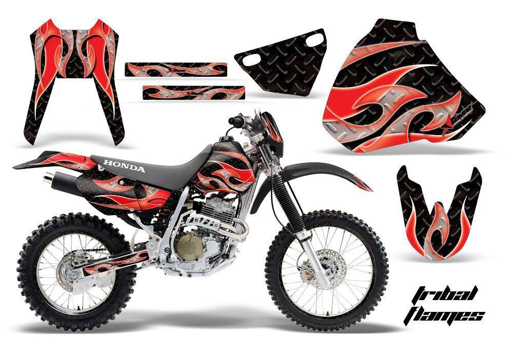 Honda XR400 Dirt Bike Graphic Kit - 1996-2004 Tribal Flames Red