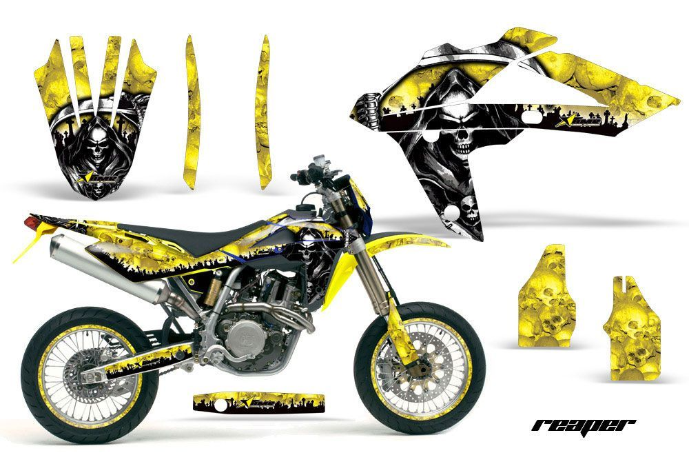 Husqvarna TC / TE 250 Dirt Bike Graphic Kit - 2005-2008 Reaper Yellow