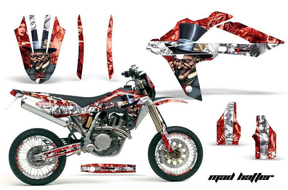 Husqvarna TC / TE 450 Dirt Bike Graphic Kit - 2005-2010 Mad Hatter Red