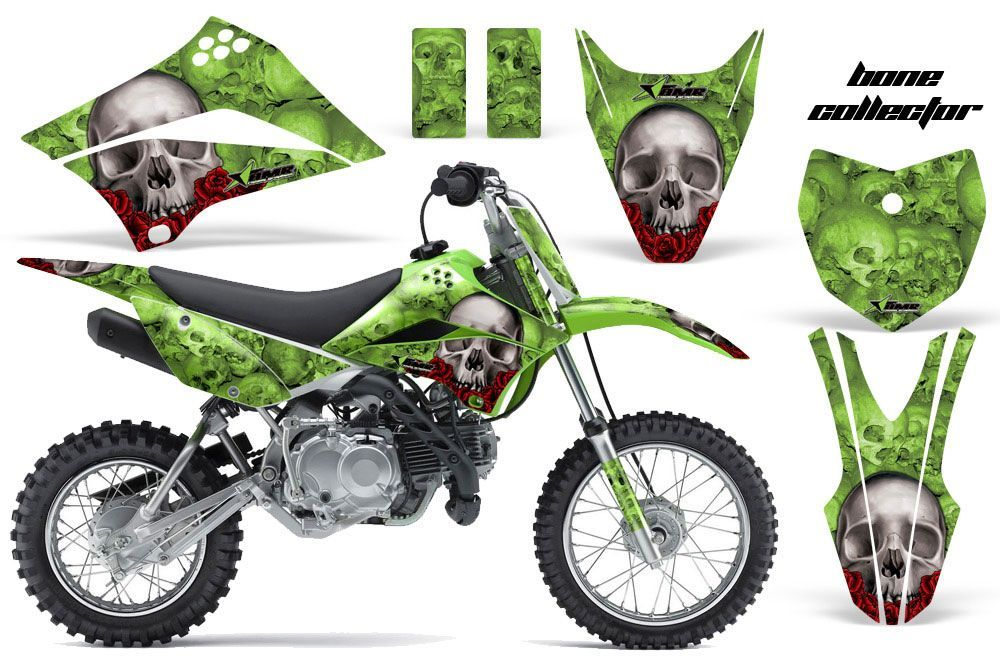 kawasaki klx110 dirt bike graphics: bone collector - green mx