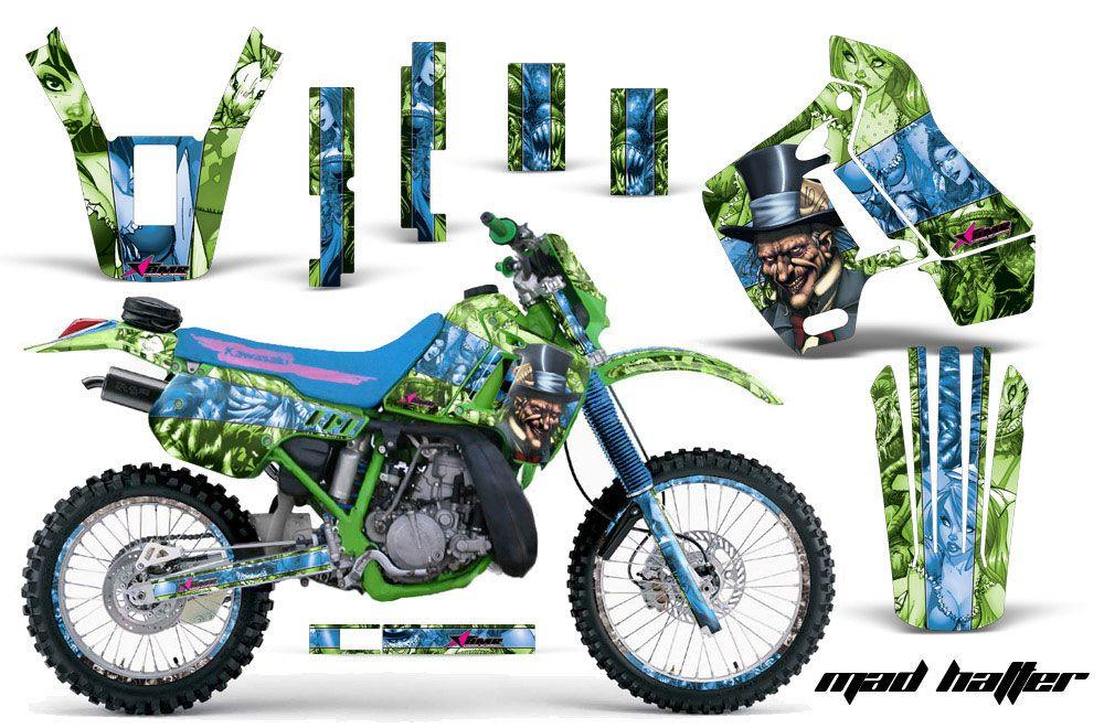 kawasaki kdx200 dirt bike graphics: mad hatter - green blue mx