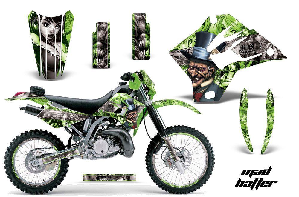 kawasaki kdx200 dirt bike graphics: mad hatter - green mx graphic