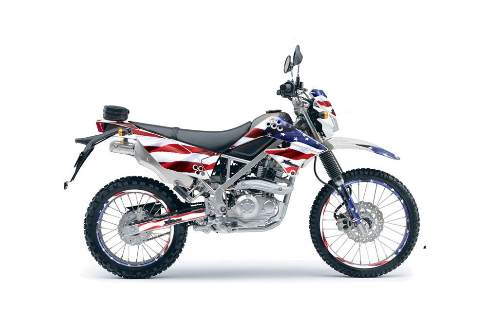 Kawasaki KLX125 D Tracker Dirt Bike Graphic Kit - 2010-2016 Stars and Stripes Red White & Blue