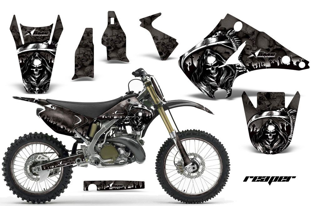 kawasaki kx125 dirt bike graphics: reaper - black mx graphic wrap