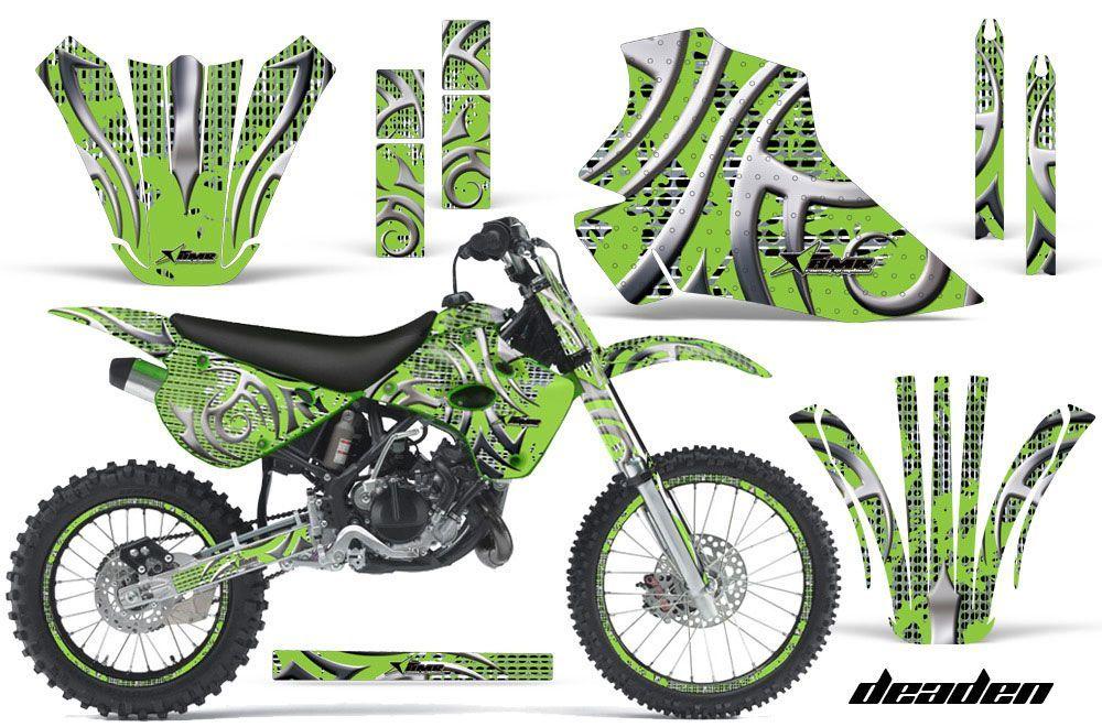 kawasaki kx80 dirt bike graphics: deaden - green mx graphic wrap