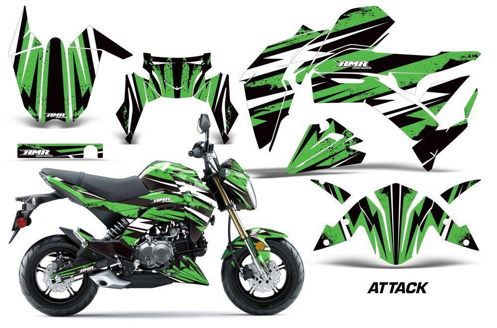 Kawasaki Z125 Pro Dirt Bike Graphic Kit - 2017-2018 Attack Green