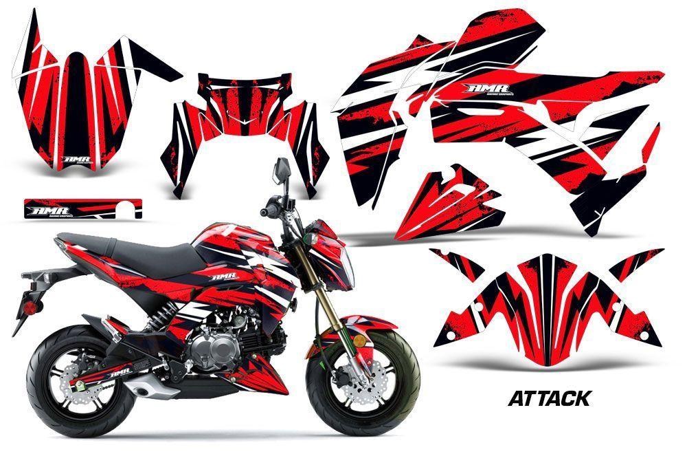Kawasaki Z125 Pro Dirt Bike Graphic Kit - 2017-2018 Attack Red