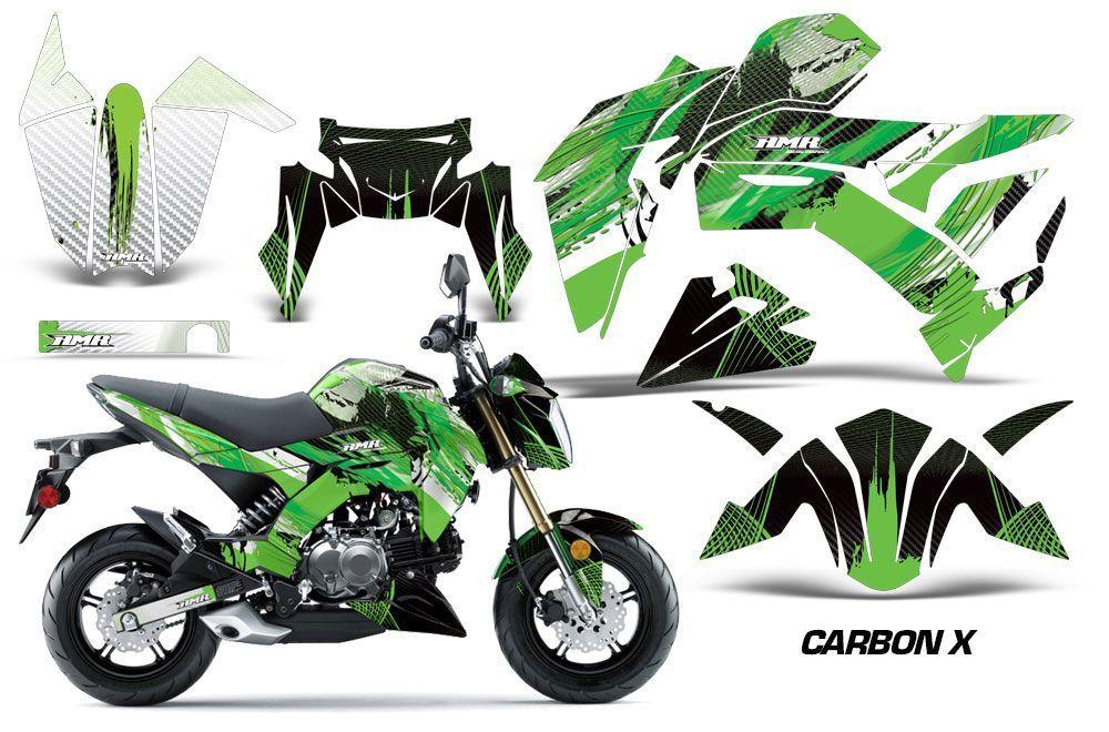 Kawasaki Z125 Pro Dirt Bike Graphic Kit - 2017-2018 Carbon X Green