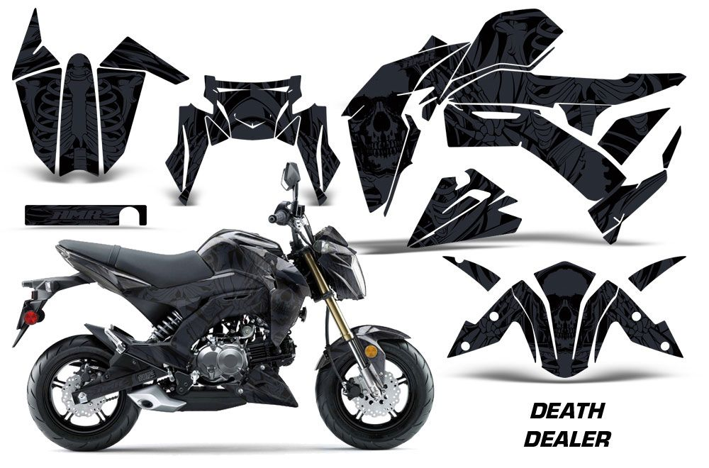 Kawasaki Z125 Pro Dirt Bike Graphic Kit - 2017-2018 Death Dealer Black