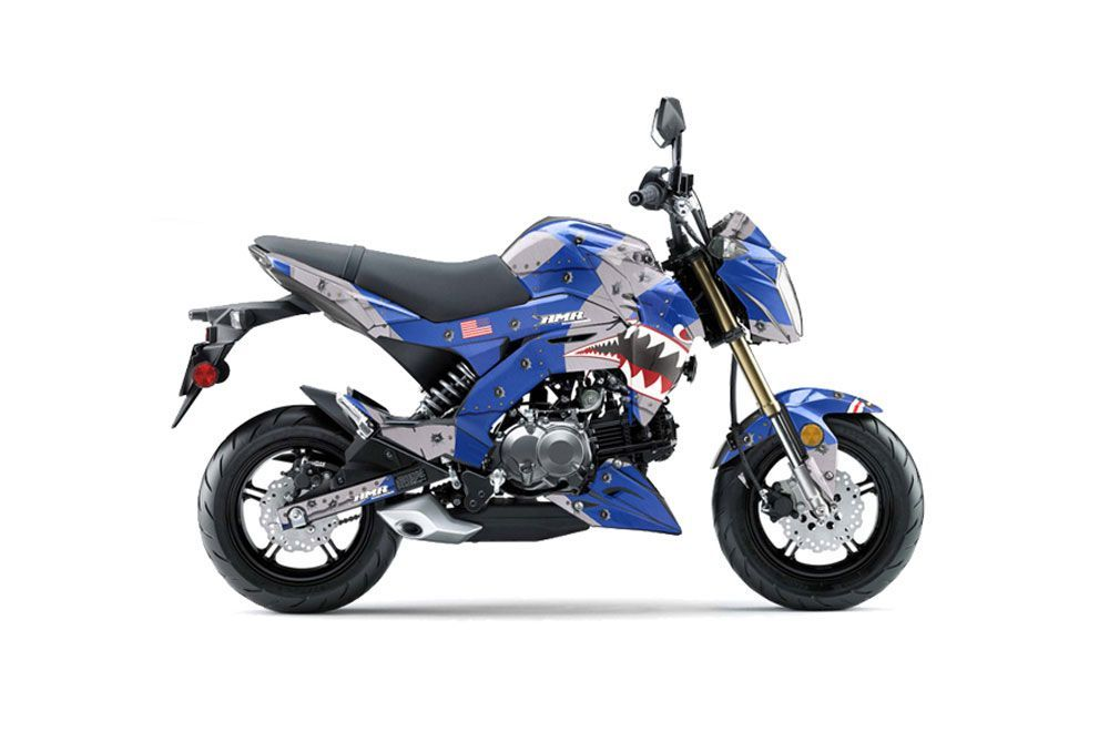 Kawasaki Z125 Pro Dirt Bike Graphics P40 Warhawk Blue Mx Graphic