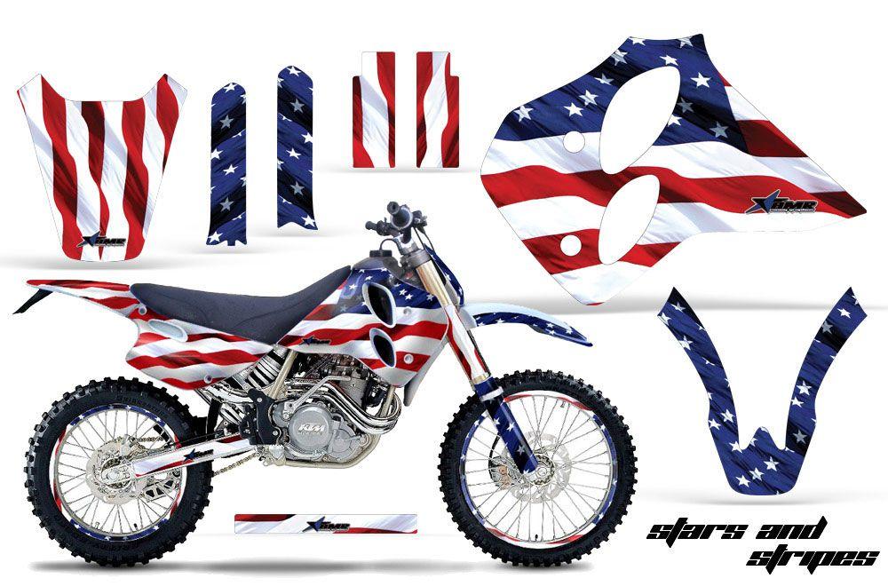 KTM C0 SX 4 Stroke Dirt Bike Graphic Kit - 1993-1997 Stars and Stripes Red White & Blue