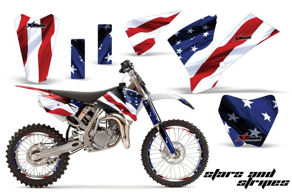 KTM SX 105 Dirt Bike Graphic Kit - 2004-2005 Stars and Stripes Red White & Blue