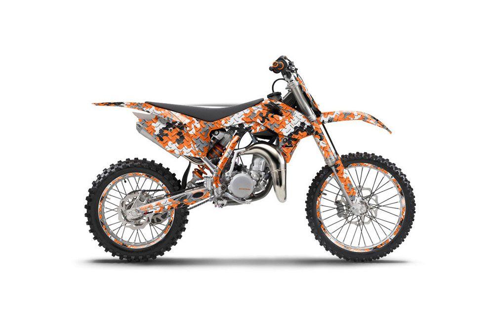 ktm sx 85 dirt bike graphics camoplate orange mx graphic wrap kit 2013 2015 dirt bike. Black Bedroom Furniture Sets. Home Design Ideas