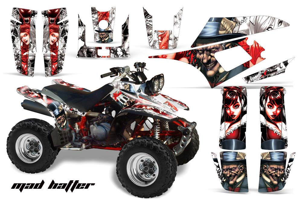 Yamaha Warrior 350 ATV Graphic Kit - All Years Mad Hatter White