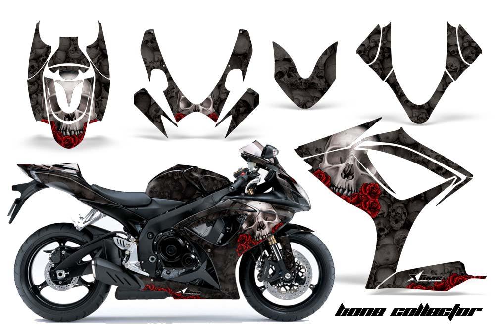 Suzuki Gsxr 600 750 Street Bike Graphics Bone Collector Black