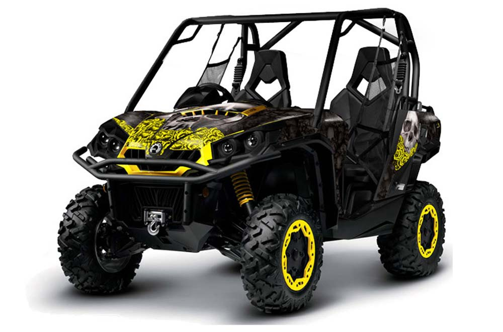 can am commander 1000 800 utv graphics bone collector black yellow side by side graphic decal. Black Bedroom Furniture Sets. Home Design Ideas