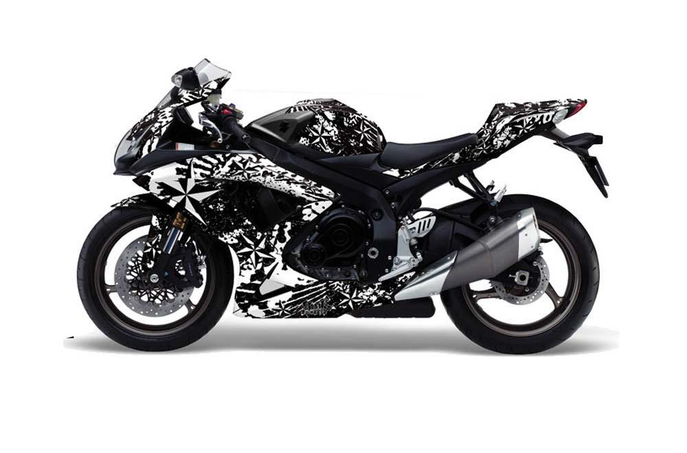 Suzuki Gsxr 600 750 Street Bike Graphics North Star White Sport