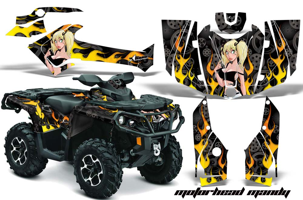 Can Am Outlander XMR / MAX / XT ATV Graphic Kit - 2006-2011 Motorhead Mandy Black