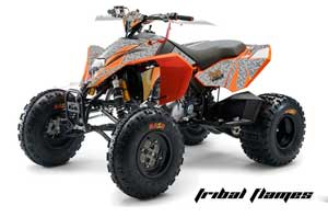 Arctic Cat Z1 Turbo Sled Graphic Kit - 2006-2012 Widow Maker Orange Tribal Flame