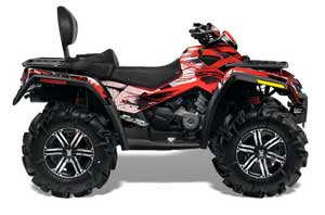 Can Am Outlander MAX 500 / 650 / 800 ATV Graphic Kit - 2006-2012 Carbon X Red