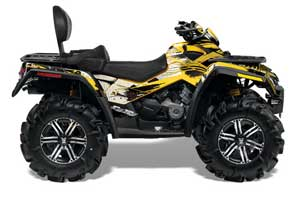 Can Am Outlander MAX 500 / 650 / 800 ATV Graphic Kit - 2006-2012 Carbon X Yellow