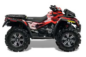 Can Am Outlander XMR 800R ATV Graphic Kit - 2006-2012 Carbon X Red