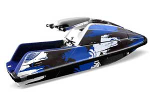 Yamaha Superjet Square Nose Jet Ski Graphic Kit - All Years Carbon X Blue