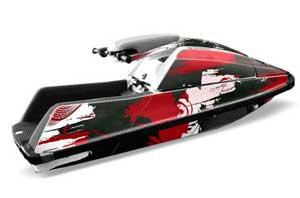 Yamaha Superjet Square Nose Jet Ski Graphic Kit - All Years Carbon X Red