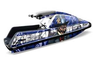 Yamaha Superjet Square Nose Jet Ski Graphic Kit - All Years Mad Hatter Blue