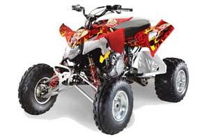 Polaris Outlaw 450 / 500 / 525 ATV Graphic Kit - 2009-2012 Motorhead Mandy Red