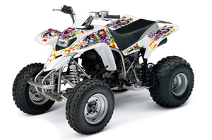 Can Am DS450 / DS450X EFI ATV Graphic Kit - 2008-2016 Silver Star - Reloaded Yellow Ed Hardy Love Kills